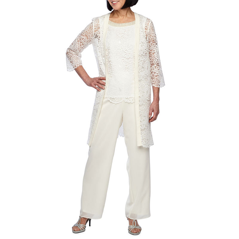 1920s Style Women's Pants, Trousers, Knickers, Tuxedo Maya Brooke 3-pc. Pant Set Womens Size 8 White $20.98 AT vintagedancer.com