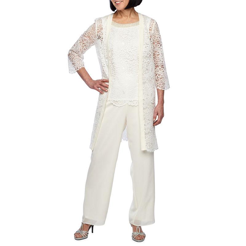 Vintage High Waisted Trousers, Sailor Pants, Jeans Maya Brooke 3-pc. Pant Set Womens Size 8 White $20.98 AT vintagedancer.com