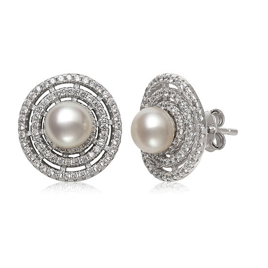 White Cultured Freshwater Pearl Sterling Silver 14mm Stud Earrings