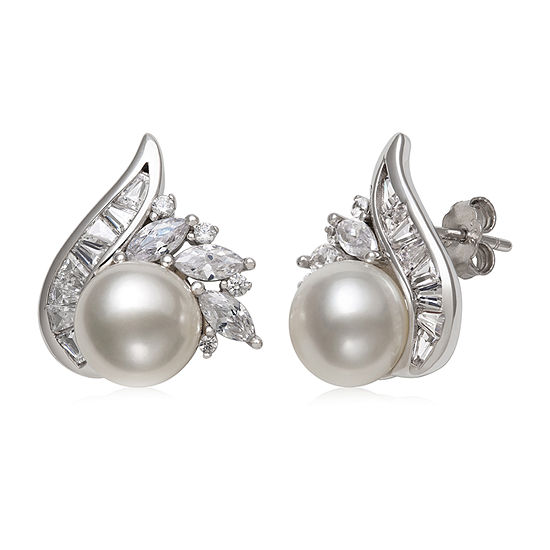 White Cultured Freshwater Pearl Sterling Silver 17mm Stud Earrings