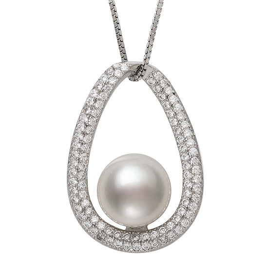 Womens White Cultured Freshwater Pearl Sterling Silver Pendant Necklace