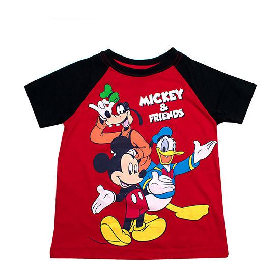 Disney Boys Crew Neck Short Sleeve Mickey Mouse T-Shirt-Toddler
