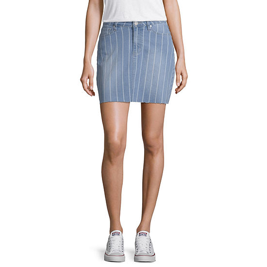 Ymi Womens High Waisted Short Denim Skirt-Juniors