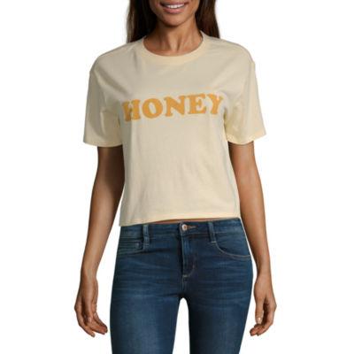 Arizona Womens Round Neck Short Sleeve Graphic T-Shirt-Juniors