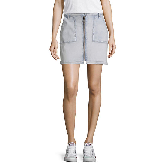 Arizona Womens Low Rise Short Denim Skirt-Juniors