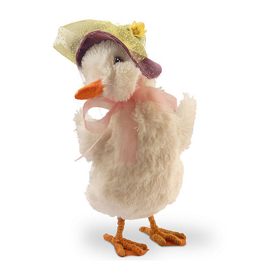 """National Tree Co. 11.6"""" Duck With Easter Bonnet Figurine"""