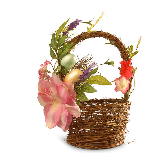 "National Tree Co. 6.7"" Decorated Basket With Tulips And Easter Eggs Tabletop Decor"