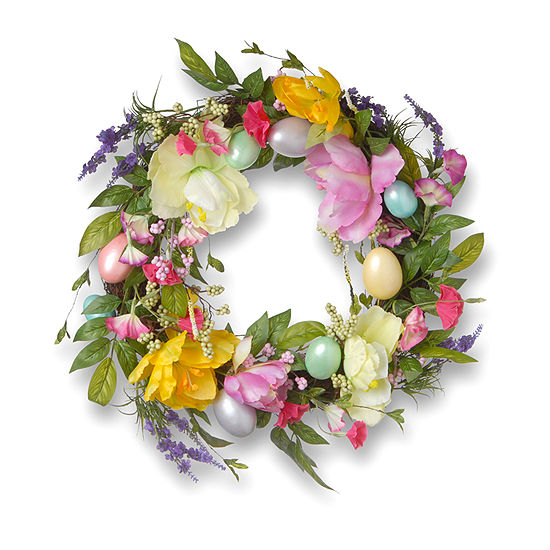 National Tree Co 20 Tulip And Easter Egg Decorated Wreath Wreath
