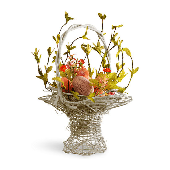 "National Tree Co. 14"" Decorated Basket With Eggs Tabletop Decor"