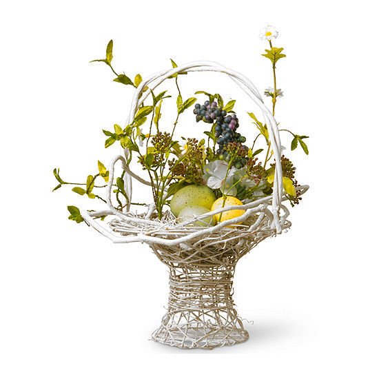 """National Tree Co. 13.5"""" Decorated Basket With Eggs And Hydrangeas Tabletop Decor"""