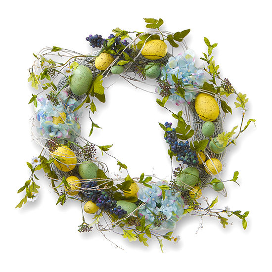 """National Tree Co. 18"""" Decorated Wreath With Eggs And Hydrangeas Wreath"""