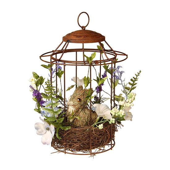 "National Tree Co. 12"" Easter Bird Cage With Rabbit Tabletop Decor"