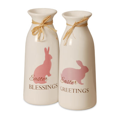 National Tree Co. White Bottles With Easter Greetings Decorative Bottles