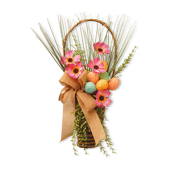 "National Tree Co. 23"" Easter Basket With Flowers Tabletop Decor"