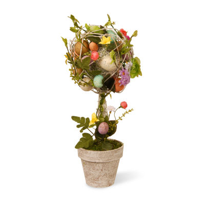 "National Tree Co. Garden Accents 17"" Easter Topiary With Eggs Flowers And Twigs Wreath"