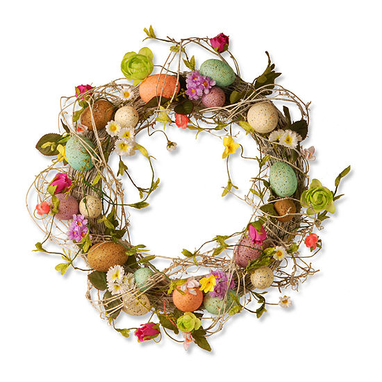 "National Tree Co. Garden Accents 18"" Easter Wreath With Eggs Flowers And Twigs Wreath"