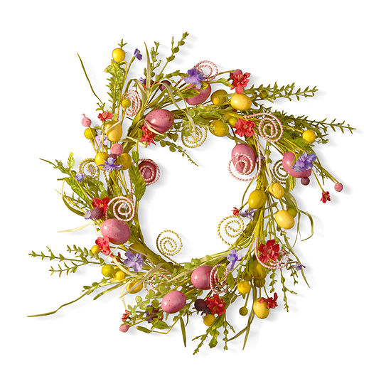 """National Tree Co. Garden Accents 24"""" Easter Wreath With Flowers And Candy Eggs Wreath"""
