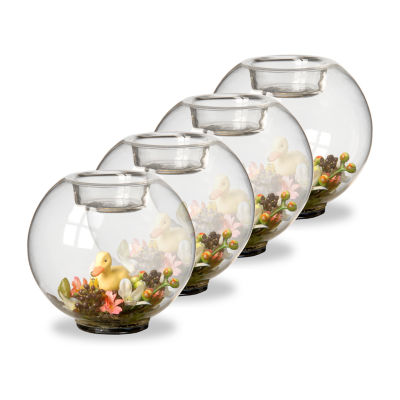 """National Tree Co. 4"""" Set Of 4 Candle Holder With Flowers And Ducks 4-pc. Candle Holder"""