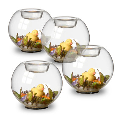"""National Tree Co. 4"""" Set Of 4 Round Glass Candle Holder With Ducks And Mini Assorted Flowers 4-pc. Candle Holder"""