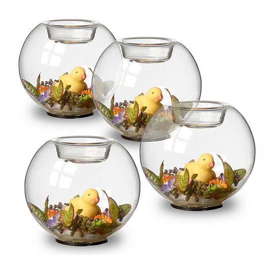 "National Tree Co. 4"" Set Of 4 Round Glass Candle Holder With Ducks And Mini Assorted Flowers 4-pc. Candle Holder"