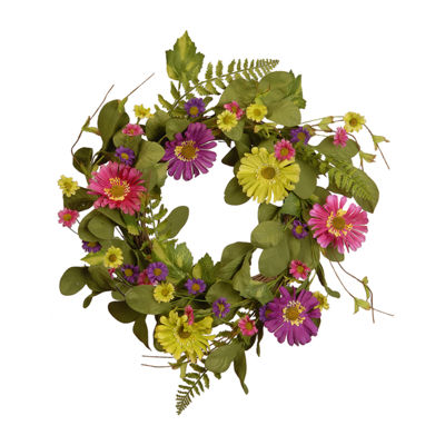 "National Tree Co. 22"" Spring Wreath With Gerbera Daisy Wreath"