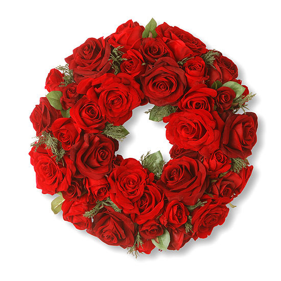 """National Tree Co. 15"""" Decorated Wreath With Velvet Mixed Roses And Cedar Wreath"""