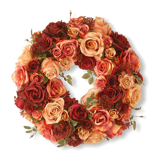 """National Tree Co. 15.5"""" Decorated Wreath With Mixed Roses And Skimmia Wreath"""