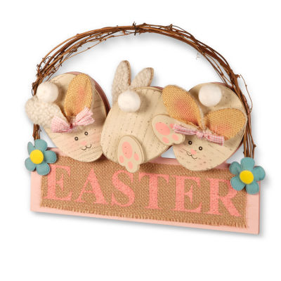 "National Tree Co. 12"" Easter Board With 3 Rabbits Wall Sign"
