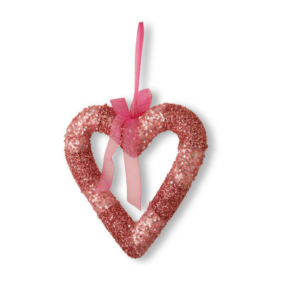 National Tree Co. Pink Bead Glittered Valentine Heart Wall Sign