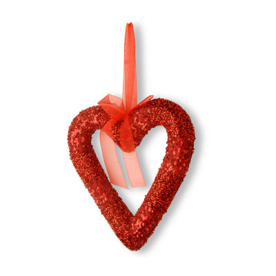 National Tree Co. Red Bead Glittered Valentine Heart Wall Sign