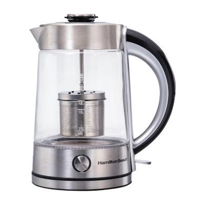 Hamilton Beach® Glass Electric Kettle With Tea Steeper