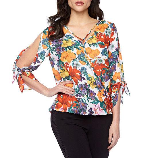 Bold Elements Womens V Neck 3/4 Sleeve Wrap Shirt
