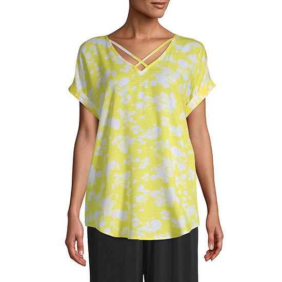 east 5th Womens V Neck Short Sleeve Blouse