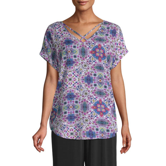 east 5th Womens V Neck Short Sleeve Blouse