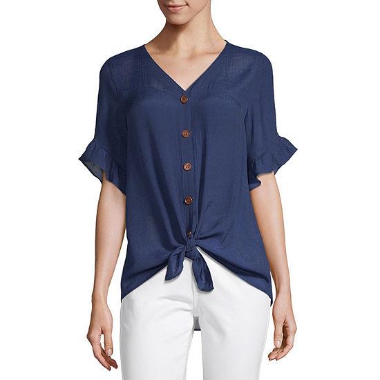 Alyx Womens V Neck Short Sleeve Blouse