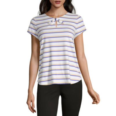 Liz Claiborne-Womens V Neck Short Sleeve T-Shirt