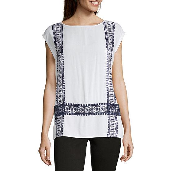 Liz Claiborne Ibiza Waves-Womens Boat Neck Short Sleeve T-Shirt