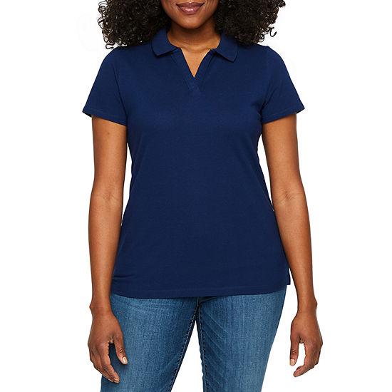 St. John's Bay Womens Short Sleeve Polo Shirt Petite