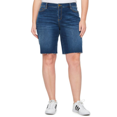 a.n.a Raw Hem 11in Denim Bermuda Shorts - Plus