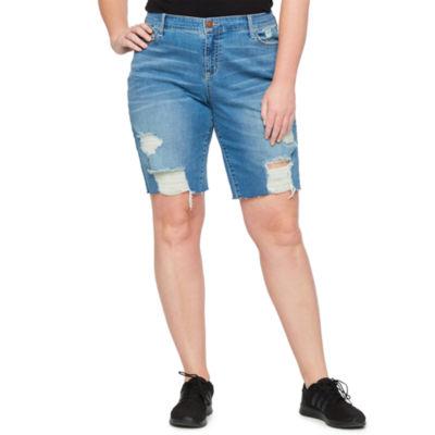 a.n.a Destructed Denim 11in Bermuda Shorts - Plus