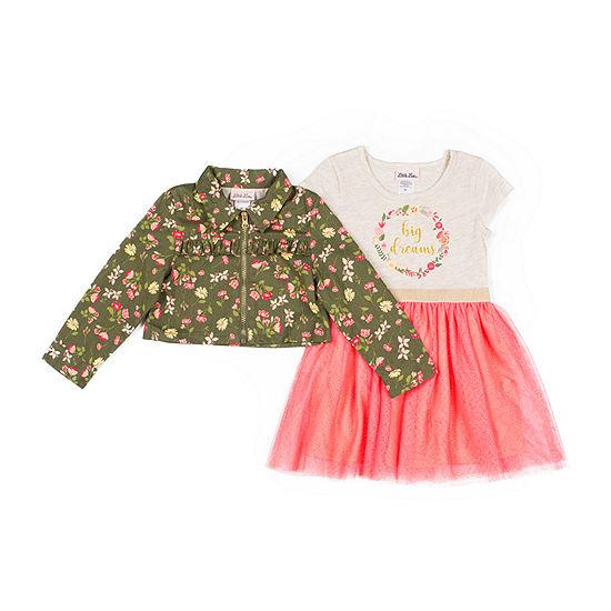 Little Lass Girls Sleeveless Dress Set - Toddler