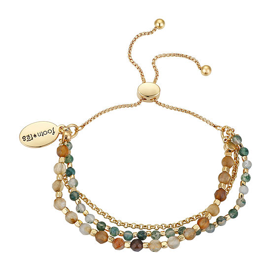 Footnotes Fancy Jasper Healing Stone Silver Over Brass 8 1/2 Inch Link Bolo Bracelet