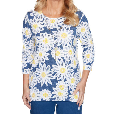 Alfred Dunner Lazy Daisy Womens Round Neck 3/4 Sleeve T-Shirt