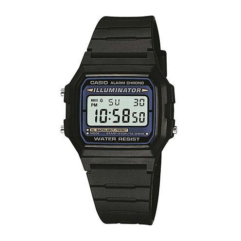 Casio® Illuminator Mens Square Black Resin Strap Digital Sport Watch F105W-1OS