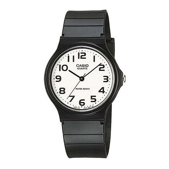 Casio Mens White Dial Black Resin Strap Watch Mq24 7b2llub