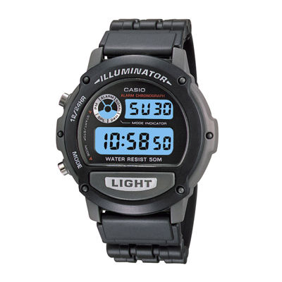 Casio® Illuminator Mens Black Resin Strap Chronograph Sport Watch W87H-1VOS