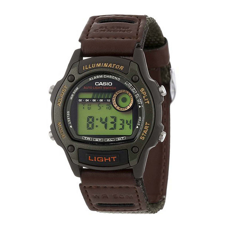 Casio Illuminator Mens Brown Nylon/Leather Strap Sport Watch W94HF-3AVOS