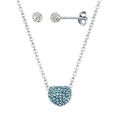 Crystal Sophistication™ Blue & Clear Crystal Reversible Heart Pendant & Earrings
