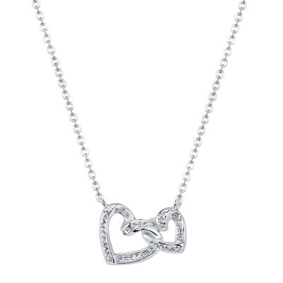 Crystal Sophistication™ Crystal Silver-Plated Double-Heart Pendant Necklace