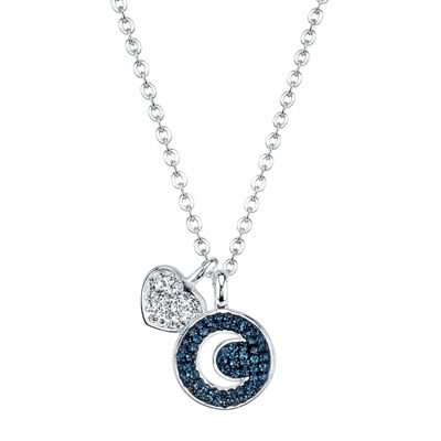 Crystal Sophistication™ Silver-Plated Blue & Clear Crystal Moon & Heart Pendant
